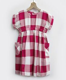 Pluie Checks Smock Dress With Pockets - Red