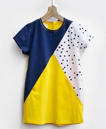 Pluie Triangle Knit Dress With Seam Pockets - Yellow & Blue