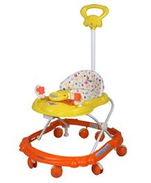 Sunbaby Racer Musical Walker With Push Handle - Orange & Yellow