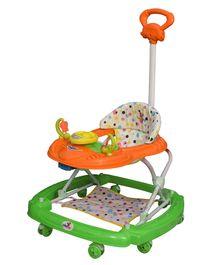 Sunbaby Racer Musical Walker With Push Handle - Orange & Green