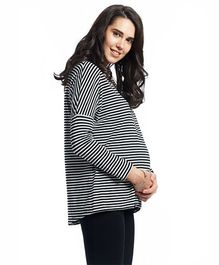 Nuthatch Slouch Sleeves Maternity Top - Black & White