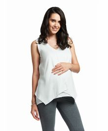 Nuthatch Sleeveless Maternity Twill Top - White
