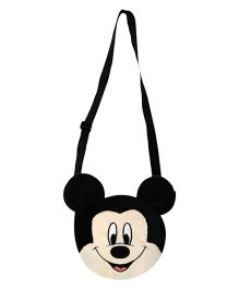 Disney Mickey Shape Plush Sling Bag Black - 7.7 Inches
