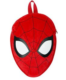 Disney Plush Bag With Adjustable Shoulder Straps Spiderman Face Shape Red - 14 Inches