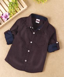 Babyhug Full Sleeves Shirt Dots Print - Dark Brown
