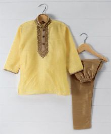 Babyhug Full Sleeves Embroidered Kurta & Pajama Set - Yellow Gold
