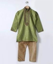Babyhug Full Sleeves Embroidered Mandarin Collar Kurta & Pajama Set - Green
