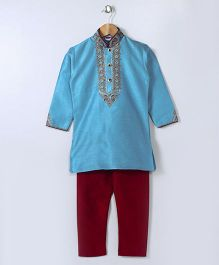 Babyhug Full Sleeves Embroidered Mandarin Collar Kurta & Pajama Set - Blue