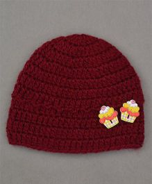 Buttercup From Knittingnani Cupcake Applique Cap - Burgundy
