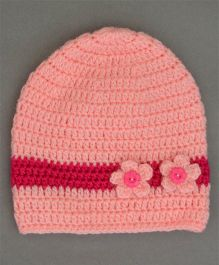Buttercup From Knittingnani Cute Cap With Flower Applique - Pink