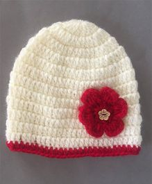 Buttercup From Knittingnani Floral Patch Cap - Off White & Red