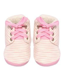 Miss Diva Soft & Smart Stripes Laced Boots - Pink