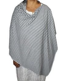 Kadambaby Nursing Cover Gingham Checks Print - Black & White