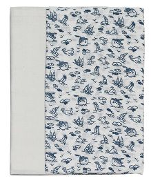 Kadambaby Muslin Swaddle Wrapper Sea Print Set of 2 - White