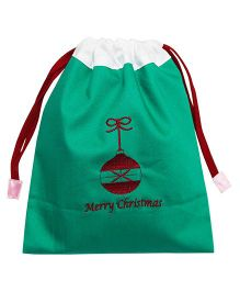 Kadambaby Gift Sack With Merry Christmas Embroidery - Green Red