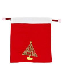 Kadambaby Gift Sack With Christmas Tree Embroidery - Red