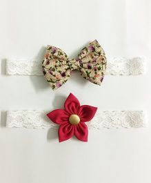 Knotty Ribbons Flower & Bow Hairband Set of 2 - Floral & Dark Pink