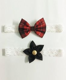 Knotty Ribbons Flower & Bow Hairband Set of 2 - Red & Black