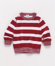 Simply Full Sleeves Striped Sweatshirt - Red & White