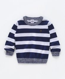 Simply Full Sleeves Striped Sweatshirt - Navy Blue & White