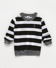 Simply Full Sleeves Striped Sweatshirt - Black & White