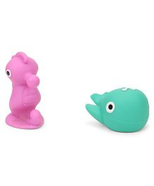 Giggles Aqua Animal Squeakers Bath Toys Pack Of 2 Pink & Green - 9 cm