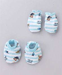 Babyhug Mittens & Booties Set Puppy Print - Blue White