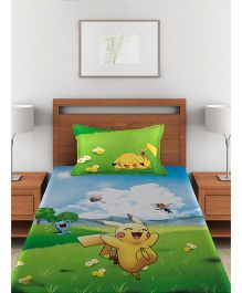 Pokemon Single Bed Sheet With 1 Pillow Cover - Green