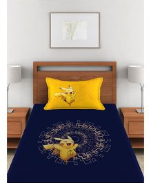 Pokemon Single Bed Sheet With 1 Pillow Cover - Blue & Yellow