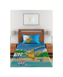 Pokemon Single Bed Sheet With 1 Pillow Cover - Blue