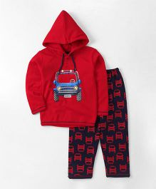 Cucumber Hooded Winter Wear Set Car Print - Red & Navy