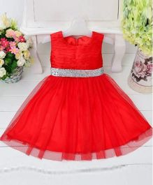 Pre Order - Wonderland Party Dress With Shinny Waist Belt - Red