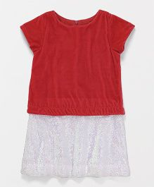Pixi Rainbow Sequins Dress Attached Skirt - Red
