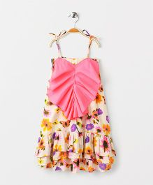 Pixi Floral Ruffled Dress And Long Back Hem - Pink & Yellow