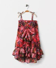 Pixi Floral Ruffled Dress And Hem With Long Back Hem - Pink & Black