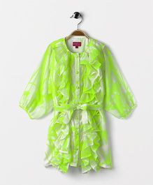 Pixi Ruffled Frill Trim Dress - Neon Green