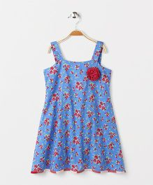 Pixi  Floral Strap Dress With Frill Trim At The Back - Blue