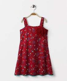 Pixi  Floral Strap Dress With Frill Trim At The Back - Maroon