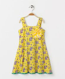 Pixi  Floral Strap Dress With Frill Trim At The Back - Yellow