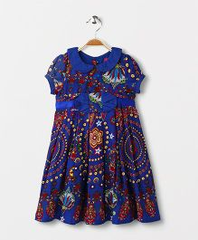 Pixi Floral Box Pleat Dress - Blue