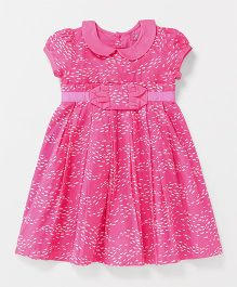 Pixi Fishes Box Pleat Dress - Pink & White