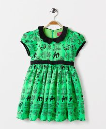 Pixi  Scalloped Collar Fit & Flared Dress - Black & Green