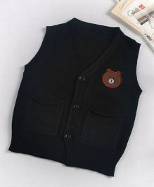 Superfie Sleeveless Teddy Cardigan - Black