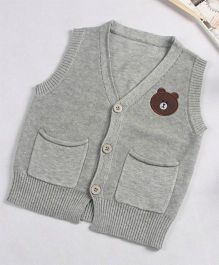 Superfie Sleeveless Teddy Cardigan - Grey