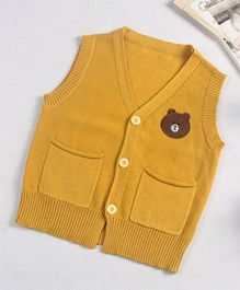 Superfie Sleeveless Teddy Cardigan - Yellow