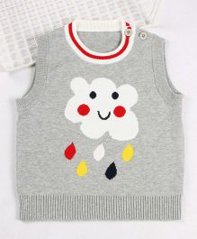 Superfie Sleeveless Raining Cloud Printed Sweater - Grey