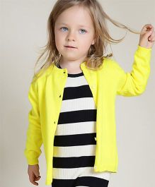Superfie Solid Colored Casual Cardigan - Yellow