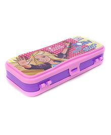 Barbie Printed Pencil Box With Dual Compartment - Purple Pink