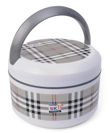 SKI Plastoware Insulated Lunch Box With Handle - White Grey