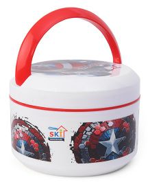 SKI Plastoware Insulated Lunch Box With Handle - White Red